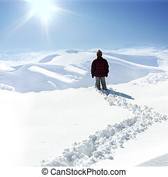 Human on mountain, winter, snow, walk