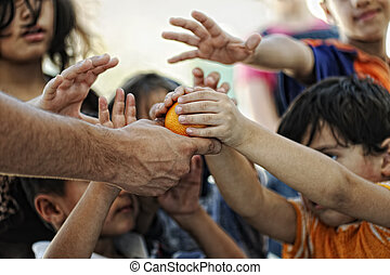 hambriento, niños, refugiado, campo, Di