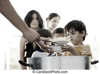 affamé, enfants, réfugié, camp,...