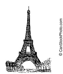eiffel tower isolated on the white background