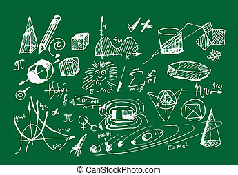 school icons on the blackboard - school icons isolated on...
