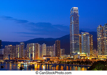 Twilight blue hour at hongkong downtown.