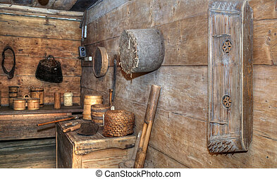 historic room with old tools - historic room, with old...