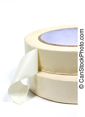 Masking Tape - Two rolls of masking tape isolated on white...