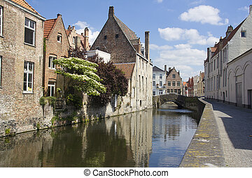 Canal in Bruges, Belgium - Quiet canal in the old part of...