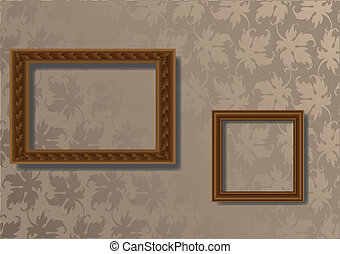 Wooden two frames - wooden two frames for photo on the gray...