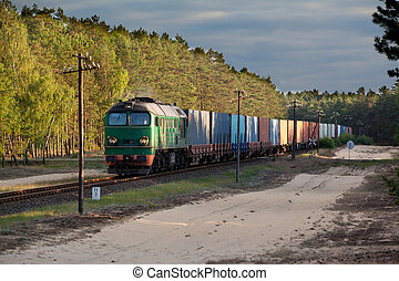 Freight diesel train - Freight train hauled by the diesel...