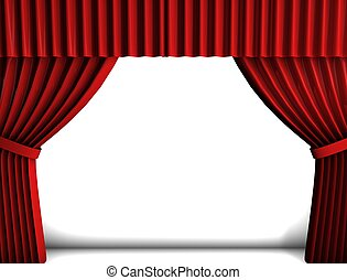 Red curtain - 3d rendering, conceptual image, Theater style...