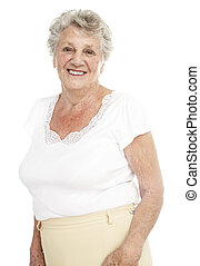 senior woman - portrait of a happy senior woman smiling over...