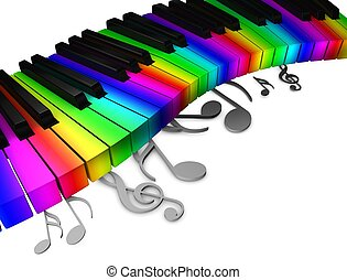 Colorful piano keys - 3d rendering, conceptual image,...