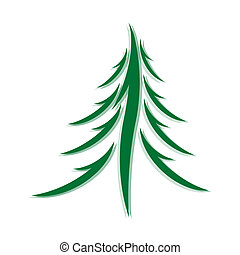 symbol of fir-tree - Symbol of a fir-tree on a white...