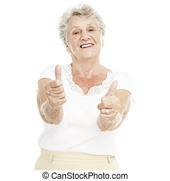senior woman - portrait of senior woman gesturing good over...