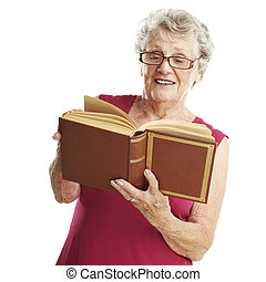 senior woman reading - portrait of senior woman reading a...