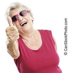 senior woman approve - portrait of senior woman approve...