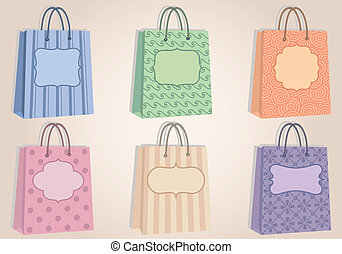 shopping bags with blank labels, ve