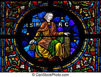 Isaac - Stained glass window in the Notre Dame church of...
