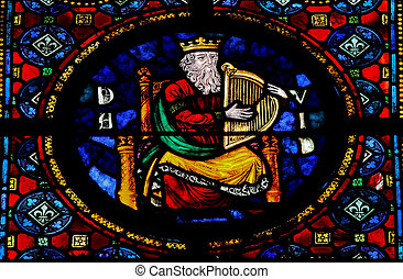 King David - Stained glass window in the Notre Dame church...