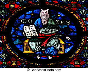 Moses - Stained glass window in the Notre Dame church of...