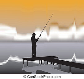 Fisherman on a pier - Vector illustration of a fisherman on...