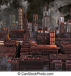 Future Industrial City - Night view of a smokey future...