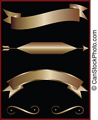 Gold banners - vector illustration for you