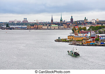 view on Gamla Stan and Beckholmen island in Stockholm - view...