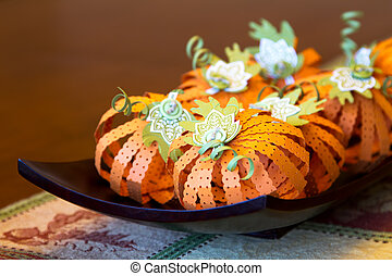 Pumpkin Centerpiece - Fall pumpkin centerpiece crafted out...