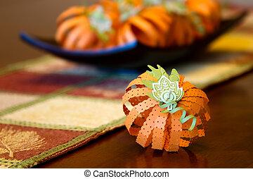 Pumpkin Centerpiece - Fall pumpkin centerpiece crafted out...