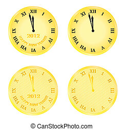 new year 2012 eve clocks - set of new year 2012 eve clocks