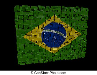 Brazilian flag on blocks illustration