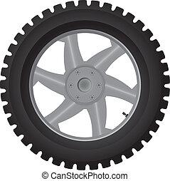 Car wheel on white - vector illustration
