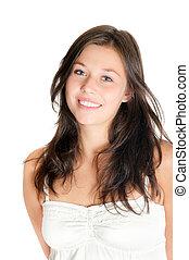 Closeup portrait of a beautiful young woman wearing a white...