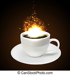 Coffee cup and cascade of sparks