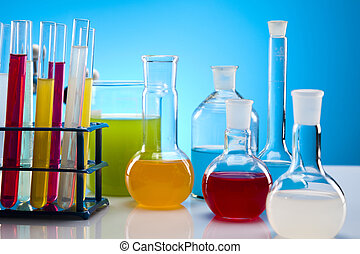 Laboratory flasks containing liquid - Laboratory glassware...