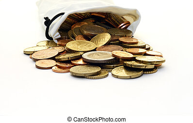 White Money Bag of Euro Coins - A faux leather, white money...