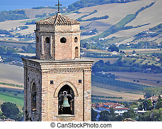 bell tower in Marche - old bell tower of a church in marche,...