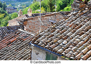 roofs details seen from above in an old village
