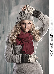 young pretty blonde winter woman - pretty young girl with...