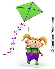 girl flying a kite - cute girl flying a kite - high quality...