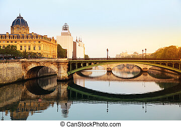 Seine river and Bridge in Paris, Fr