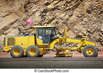 Road construction - Stock image of motor grader working on...
