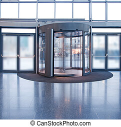 Revolving door in reception of office building