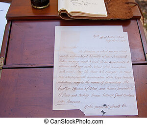Vintage 1776 Letter displayed on an antique desk. - Vintage...