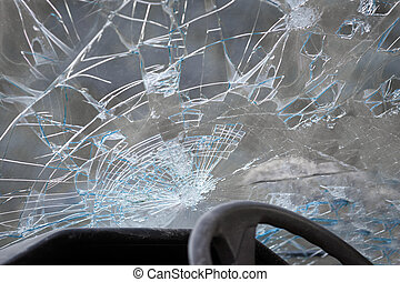 Smashed windshield - Crashed windshield seen from inside the...
