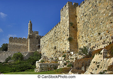 Citadel.  - High walls of Jerusalem near David's tower