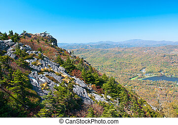 Grandfather Mountain, North Carolina, USA - Tourists climb...