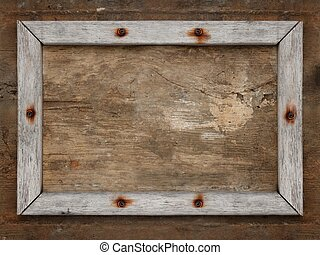 Old wooden frame on brown dirty aged wall