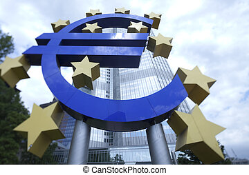 European central bank - Euro symbol in european central bank...