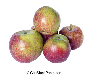 McIntosh apples isolated on white - Arrangement of freshly...