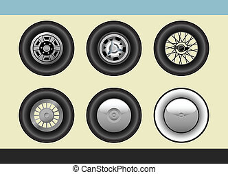 Retro car wheels - Vector set of retro car wheels